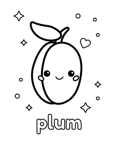 Coloring page for preschool children. Cute kawaii plum berry with face. English vocabulary food. Vector illustration.