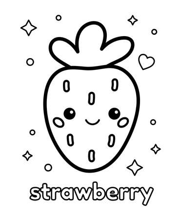 Coloring page for preschool kids. Cute cartoon kawaii strawberry. Healthy food. Learn english words for children. Vector outline illustration.