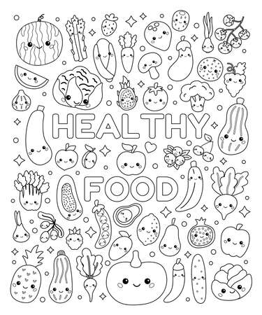 Doodle coloring page with cute vegetables and fruits. Set of healthy food with funny faces. Kawaii cartoon characters. Black and white outline vector illustration.