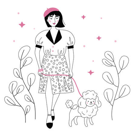 French woman walking with Poodle breed dog. Trendy fashion clothes. Black and white vector outline illustration.