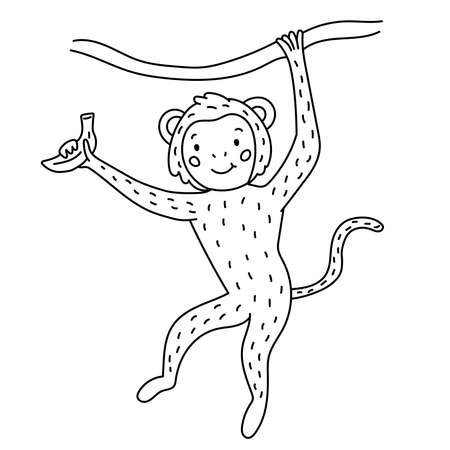 Hand drawn doodle monkey with banana. Coloring page for children. Black and white outline vector illustration. Cute cartoon character. Illustration