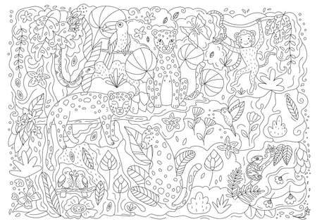 Hand drawn doodle coloring page with leopards, parrots, hummingbird, toucan, snake, monkey and chameleon. Cute cartoon characters. Exotic tropical plants and flowers. Outline vector illustration. Illustration