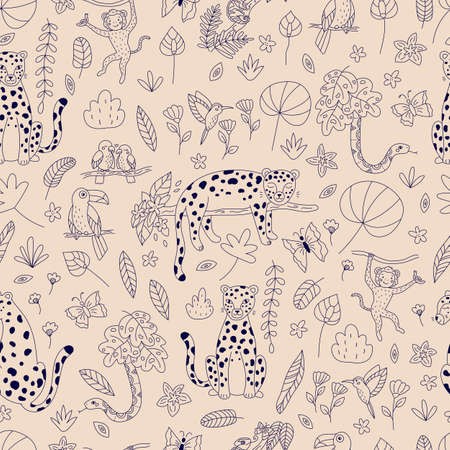 Seamless pattern with outline rainforest animals, birds and exotic plants on pink background. Hand drawn leopards, chameleon, monkey and snake. Vector illustration.