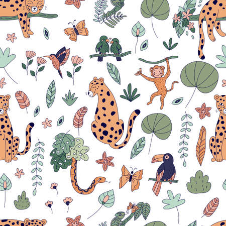 Seamless pattern with cute jungle animals. Rainforest exotic plants and flowers. Doodle cartoon leopards, monkey, toucan, parrots, chameleon, hummingbird and snake on white background.