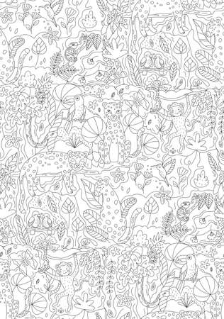 Vector seamless pattern with jungle animals leopards, monkey, snake, parrots, toucan and chameleon. Coloring page for children and adults. Black and white outline illustration. Hand drawn rainforest. Illustration