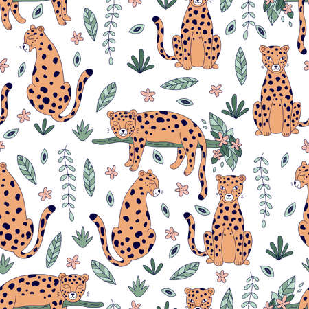 Seamless pattern with cute leopards on white background. Hand drawn doodle animals. Jungle plants and flowers. Vector illustration.