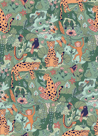 Jungle seamless pattern with doodle animals. Hand drawn leopards, parrots, toucan, chameleon, snake and monkey. Vector illustration ideal for wallpapers, nursery and fabrics. Rainforests plants. Illustration