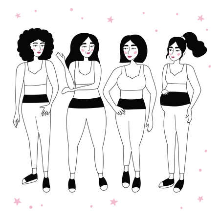 Set of beauty women in sportswear. Cartoon female characters different ages. Outline style cartoon people. Healthy lifestyle. Love your body concept. Black and white vector illustration.