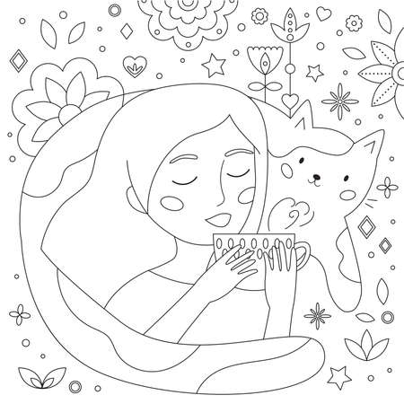 Doodle coloring page for adults and children. Cute cartoon woman drinking tea. Funny cat. Abstract geometric shapes and flowers. Antistress coloring book. Black and white outline illustration. Illustration
