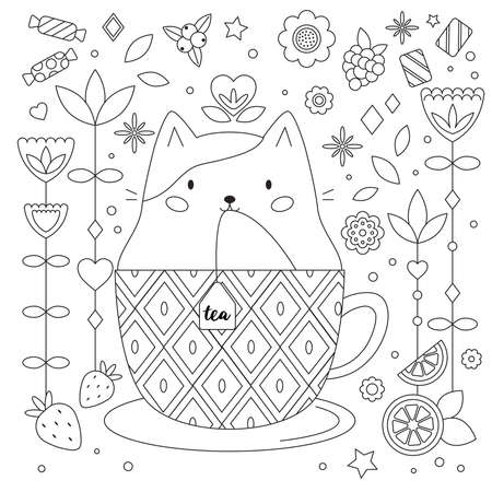 Doodle antistress coloring page with cat in cup. Abstract flowers, fruits and sweets. Cartoon cute  kitty. Outline black and white vector illustration. Tea time. Coloring book for adults and kids.