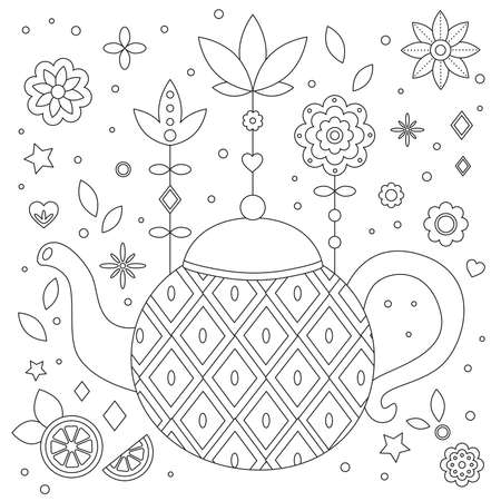 Antistress coloring page for kids and adults. Hand drawn tea pot. Doodle flowers and abstract geometric shapes. Outline vector illustration. Illustration