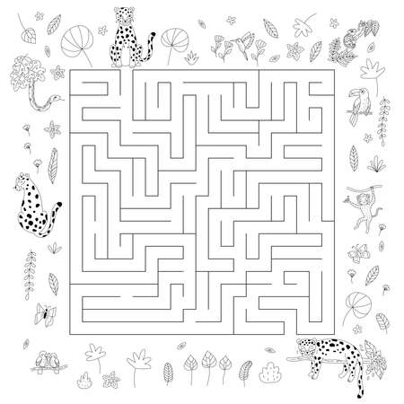Maze game for kids. Cute cartoon jungle animals - leopards, monkey, snake, parrots, toucan, chameleon and hummingbird. Exotic tropical flowers and plants. Coloring page. Outline vector illustration. Illustration