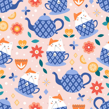 Seamless pattern with cute cat in cup. Tea time. Abstract flowers. Cartoon character. Vector illustration. Illustration