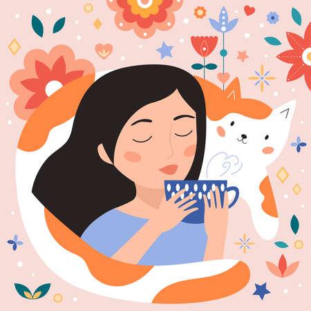Woman drinks tea. Cute cartoon cat. Abstract flowers. Cute characters. Vector doodle illustration. Tea time. Illustration