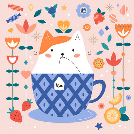 Print Cute cartoon cat in cup with tea bag. Cute animal character. Abstract flowers, sweets and fruits. Tea time. Greeting card, poster or invitation. Vector illustration.
