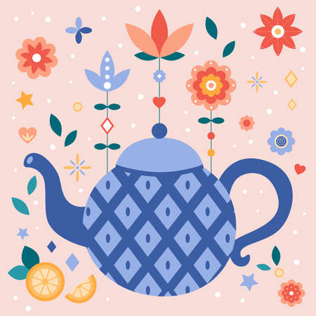 Flat style teapot with blue rhombus. Abstract flowers, fruits and plants. Tea time. Vector illustration for kitchen and cafe. Ideal for print greeting card, poster or invitations.