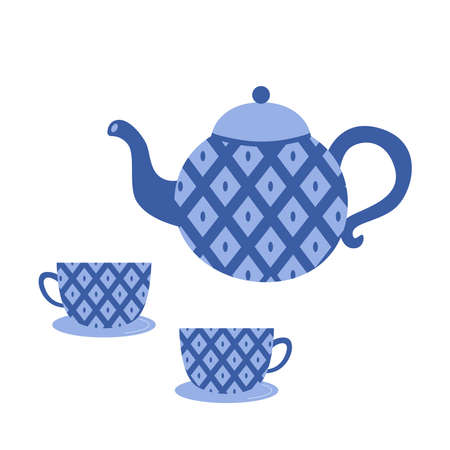 Traditional teapot and cups with blue rhombus ornament. Flat style vector illustration.