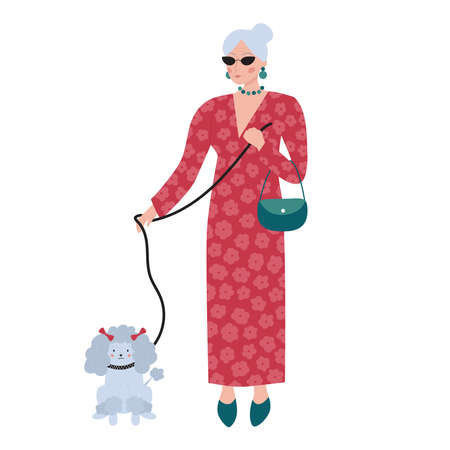 Old rich woman in red long dress with flowers. Senior elegant female character with poodle dog. Cartoon pet. Fashion vector illustration. Illustration