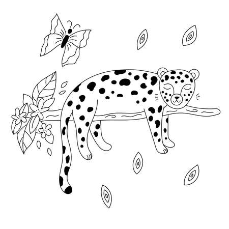 Hand drawn doodle leopard sleeps on branch. Outline jungle animals. Coloring page for children. Vector illustration.
