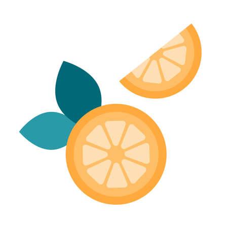 Flat style cartoon lemons with leaves. Healthy food. Fresh oranges. Half cut citrus. Vector illustration.