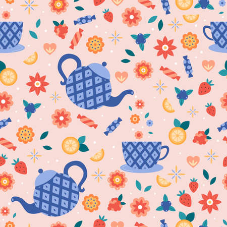 Seamless pattern with teapots and cups. Abstract flowers, candy, lemons, strawberry, raspberry and blueberry. Vector illustration for kitchen. Tea time. Illustration