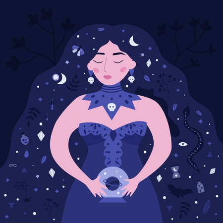 Beauty witch with crystal ball. In her long hair are poisons, elixirs, magic symbols, cat, snake, moon and spider. Female fortune teller. Vector Halloween illustration. Cartoon character.