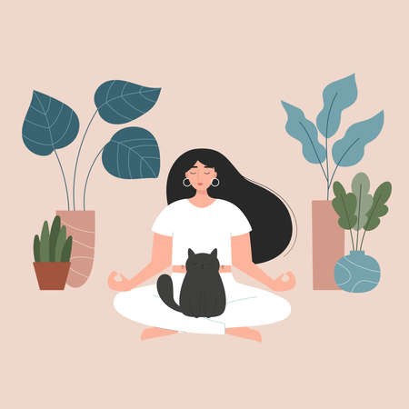 Young woman doing yoga. Female cartoon character in yoga lotus pose. A fat black cat is sitting on the girl. Hand drawn plants in pots. Meditation at home. Healthy lifestyle. Vector illustration. Illustration