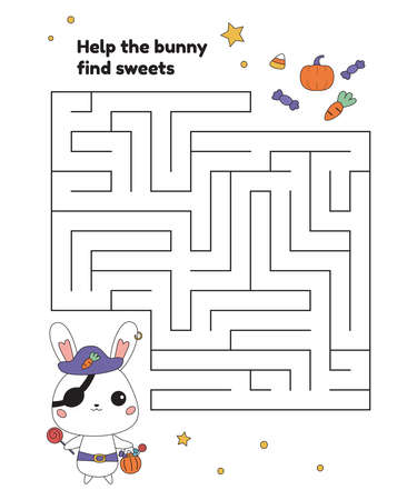 Educational maze game for preschool children. Help the bunny in pirate costume find pumpkin and sweets. Cartoon kawaii characters. Activity worksheet for Halloween party. Vector illustration.