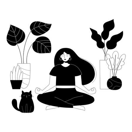 Beauty woman in yoga lotus pose with cute fat cat and house plants in pots. Black and white outline vector illustration. Meditation at home. Healthy lifestyle. Cartoon doodle characters. Illustration