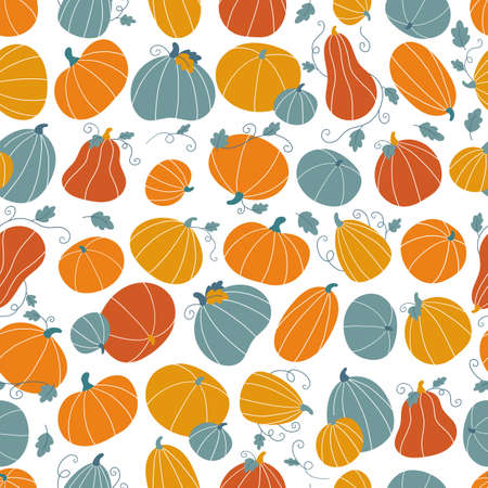 Seamless pattern with hand drawn doodle pumpkins and leaves. Flat style colorful vegetables. Design for Thankful day or Halloween celebration. Autumn vector illustration.
