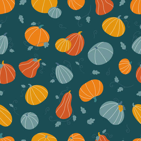 Hand drawn doodle seamless pattern with pumpkins and leaves. Thankful day or Halloween celebration. Flat style colorful vegetables. Autumn vector illustration.
