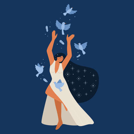 Beauty young woman in long white dress. Hand drawn blue flying birds. Girl power. Female cartoon character. Freedom concept. Vector illustration for Womens international day.