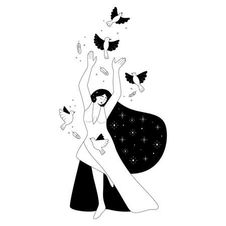 Black and white outline illustration with woman and birds. Female cartoon character. Girl power. Greeting card for International Womans day. Freedom concept. Hand drawn doodles.