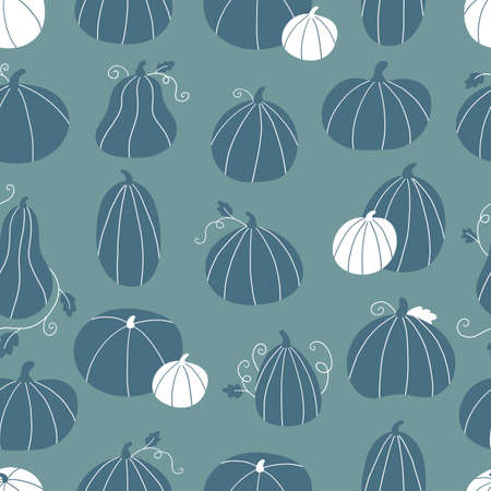 Vector seamless pattern with hand drawn doodle pumpkins. Stylized autumn vegetables. Ideal for Thankful day or Halloween celebration.