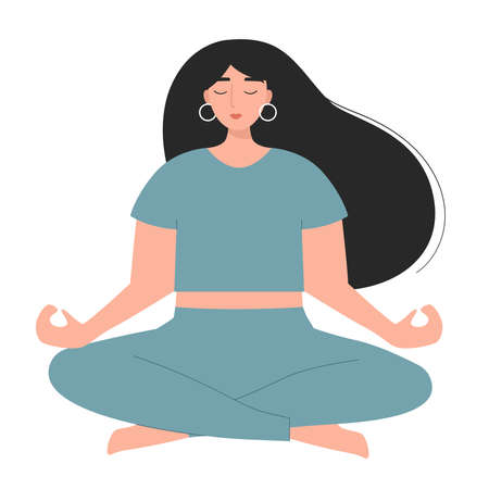Young woman doing yoga exercise. Cartoon female character. Girl in lotus pose. Flat style vector illustration. Healthy lifestyle. Illustration