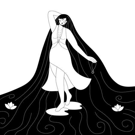Black and white outline illustration. Beauty young woman with water hair. Fashion fantasy dress. Female cartoon character. Fairy tale nymph.