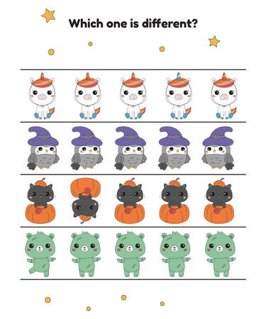 Which one is different. Halloween worksheet for preschool children. Cute kawaii animals in costumes. Printable game. Vector illustration.