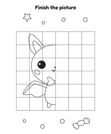 Finish the picture. Educational drawing game for preschool and kindergarten children. Cute cartoon kawaii bat. Halloween activity worksheet. Vector illustration.