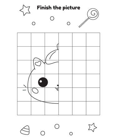 Finish the picture. Halloween activity worksheet. Educational game for preschool and kindergarten children. Cute kawaii cat with pumpkin hat on head. Vector illustration. Illustration