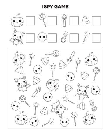 Halloween I spy printable worksheet. Educational game for kids. Coloring page. Cute cartoon pumpkin, bat, sweets, candle and potion. Searching and counting activity page. Vector illustration. Illustration