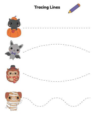 Trace line worksheet for children. Practicing fine motor skills. Halloween theme. Cute kawaii animals. Vector illustration.