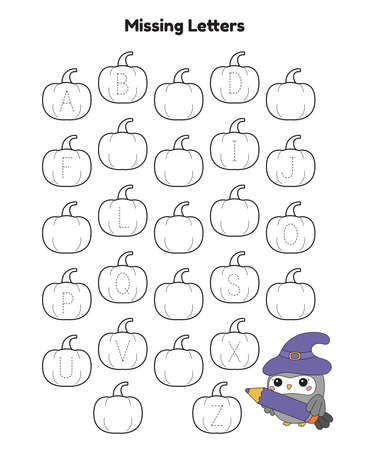 Trace the missing alphabet letters. Activity printable worksheet. Halloween theme. Cartoon kawaii owl with witch hat. Educational game for kindergarten children. Vector illustration. Illustration