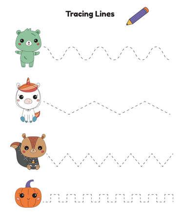 Tracing lines activity worksheet for kindergarten kids. Halloween theme. Educational game. Cute cartoon kawaii animals - zombie bear, skeleton squirrel and unicorn. Practicing fine motor skills.