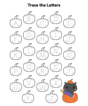 Alphabet letters tracing printable worksheet with cute cat in pumpkin. Halloween theme. Educational game for kindergarten kids. Cartoon kawaii animal. Vector illustration.
