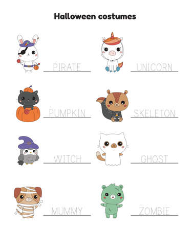 Halloween tracing words printable worksheet for kindergarten kids. Cute cartoon animals in costumes. Educational game. Study English. Learn to write for school and preschool. Vector illustration.