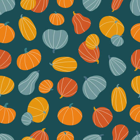 Seamless pattern with hand drawn stylized pumpkins on dark green background. Doodle vegetables for Halloween and Thanksgiving day. Autumn vector illustration.