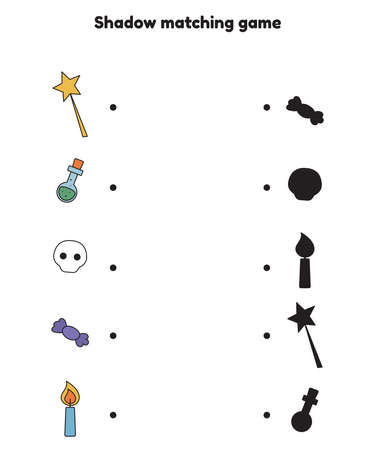 Shadow matching game for preschool kids. Activity worksheet. Halloween objects - magic wand, potion, skull, candy and candle. Find the correct silhouette. Vector illustration.