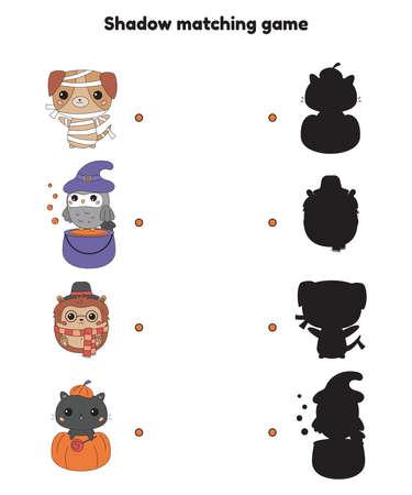 Shadow matching game for preschool children. Halloween theme. Cute kawaii cartoon animals - dog, owl, hedgehog and cat. Halloween costumes for party. Activity worksheet. Vector illustration. Illustration
