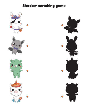 Shadow matching game for preschool kids. Halloween theme. Cute kawaii animals in carnival costumes. Educational activity worksheet. Vector illustration.