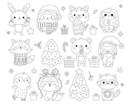 Christmas and New Year set with cute animals, gifts and sweets. Coloring page for children. Kawaii cartoon characters. Happy New Year. Black and white outline vector illustration.